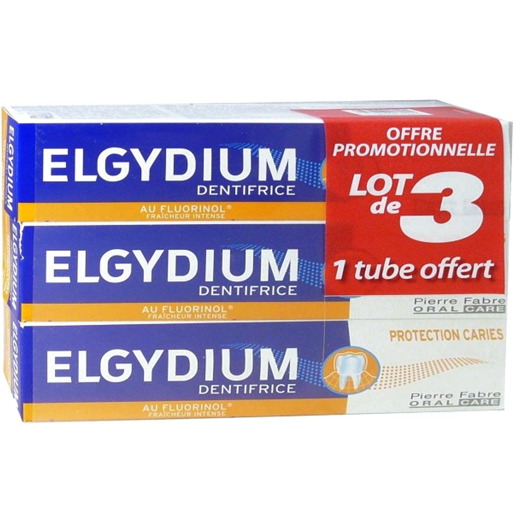 Elgydium - Dentifrice protection caries - Lot de 3 dont 1 tube offert