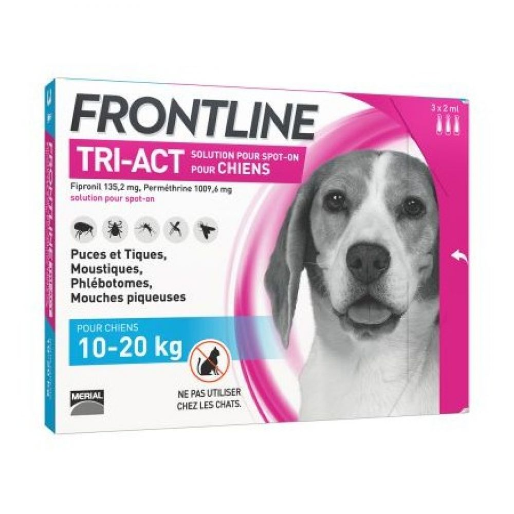Frontline Tri-Act - Spot on chiens 10-20 kg - 3 pipettes