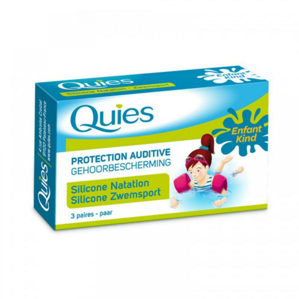 Quies - Protection auditive silicone natation enfant - 3 paires