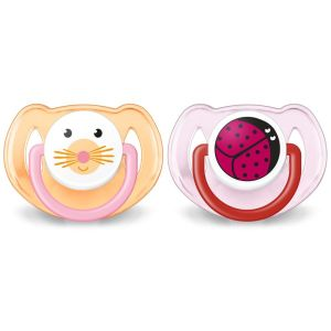Avent - Sucette orthodontique animaux silicone 6-18 mois - 2 sucettes