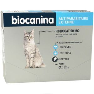 Biocanina - Fiprocat 50mg antiparasitaire chat + 1 kg - 3 pipettes