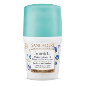 Sanoflore - Pureté de lin Déodorant 24h roll on - 50 ml
