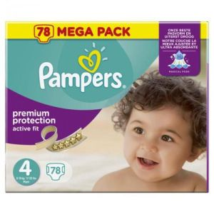 Pampers - Premium protection active fit - Taille 4 - 78 couches